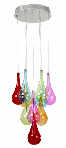 10 Light Ceiling Fitting + Multi Coloured Glass BXNIRO-10MULTI-17 (Double Insulated)